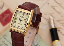 Womens Gold Rectangular Vintage Retro Dress Watch Brown Leather Strap