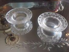 R. Lalique France Crystal Cut Sparrows on Pair Open Salt Cellars, Vntg Elegance