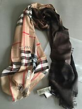 Burberry Omber Camel Check Lightweight Scarf Wool / Silk NWT!