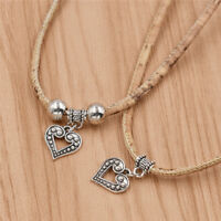 Vintage Cork Antique Silver Heart with Beads Necklace Pendant Charms Handmade