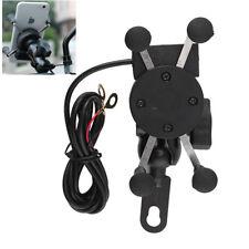 Universal Motorcycle Bike Motorbike Mobile Phone Holder X Grip Clamp+USB Charge