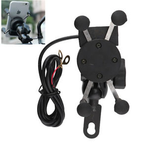 Universal Motorcycle Bike Motorbike Mobile Phone Holder X Grip Clamp+USB Charge