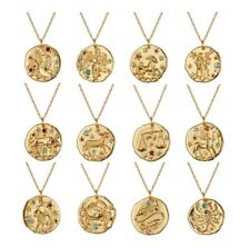 Gold plated Zodiac Gem Constellation Star Sign Necklace Bloggers Stories Coin