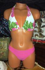 Venus Sexy Barbie Pink White Floral Posing Triangle String A B Swimsuit Bikini S