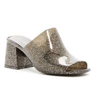 Jeffrey Campbell Womens Shoes Petra Jelly Block Heel Mules Black Glitter (SH51)