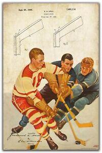 Vintage Hockey Stick Patent Art Print 11x17 NHL Poster Game Room Wall Decor Gift