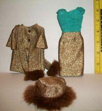 REPRO VINTAGE MATTEL BARBIE #1647 GOLD 'N GLAMOUR JACKET SCARF AND DRESS