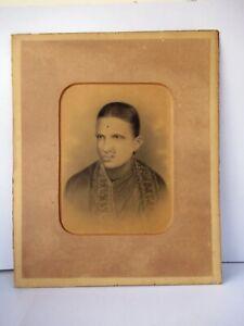 "Antique Charcoal Painting Marathi Lady Portrait Nathani Nose Ring Saari Rare ""F"