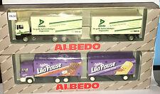 "2 x ALBEDO 200222 + 200258 Werbemodelle MAN ""Milka + Dekra"", H0 1:87, neu + OVP"