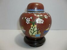 Vintage Chinese Enamel Cloisonne GINGER JAR Cherry Blossoms BRUSHES Wood Stand