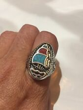 1980's Vintage Southwestern Silver Men's Turquoise Stone Inlay 6.75 Ship Ring