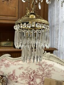 Antique Vintage French Chandelier In Lovely Original Condition Beautiful Glass