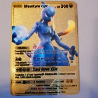 Shadow Mewtwo GX: Metal Pokemon CUSTOM Card - Vmax V Rare Luxury.
