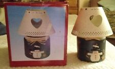 Christmas Ceramic Snowman Candle Holder W/Metal Shade Let It Snow by Henton