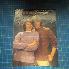 Vintage Patons Promise Bold Cable Knit Sweaters Knitting Pattern 1894