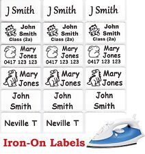48 White Iron On Personalised Name Clothing Labels - Medium (30*15mm)