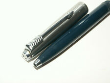 PARKER 45 CAP ACTIVATED BALLPOINT PEN. NAVY BLUE/BRUSHED STEEL CAP. EXC; COND