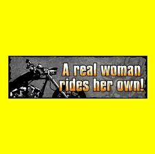 """""""A REAL WOMAN RIDES HER OWN!"""" motorcycle BUMPER STICKER, Harley-Davidson, biker"""