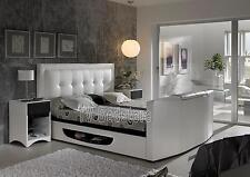 White Leather Bowburn Super King Size TV Bed Frame