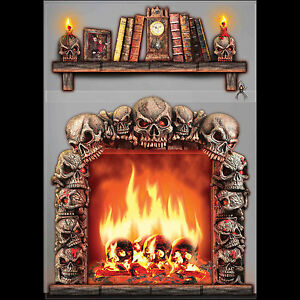 Gothic 4x5 FIREPLACE SKULLS WALL DECORATION Halloween Haunted House Scene Setter
