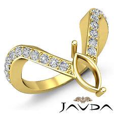 Diamond Pave Set Designer Wedding Ring Marquise Semi Mount 14k Yellow Gold 0.35C