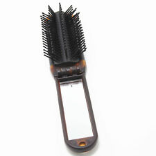 Portable Travel Folding Hair Brush With Mirror Compact Pocket Size High Quality