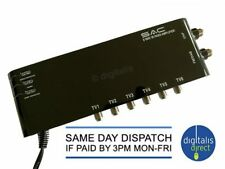 More details for 6 way sac aerial amplifier with ir bypass magic eye signal booster tv fm dab