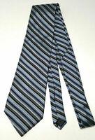 DKNY Donna Karan New York Men Necktie Tie Silk Striped Black Silver Gray Blue