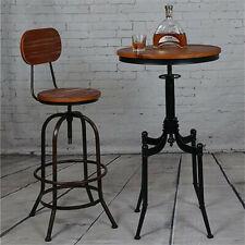 Round Wood Top Bar Pub Bistro Table Adjustable Industrial Coffee Table Metal Leg