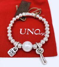 UNO De 50 Llavestruz Silver Plated Bracelet Pearl Key Medium Pul1523bplmtl0m