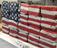 FOLK ART AMERICAN FLAG PAINTED ON 20 HALF ANTIQUE CLAY Bricks lose wall