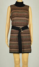 INC Womens Black Metallic Sleeveless Belted Turtleneck Zig-Zag Tunic Sweater L