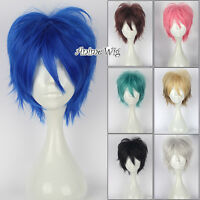 30cm Anime Layered Short Straight  Cosplay Wig +Free Wig Cap 8 Colours