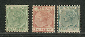 Turks Islands Sc#48-50 M, 48-9 No Gum, 50 Thin, Cv. $85.25