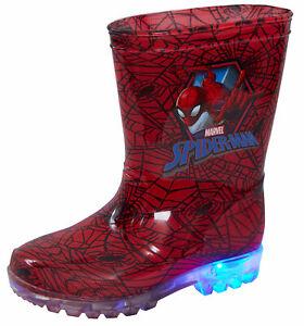 Marvel Spiderman Light Up Wellington Boots Kids Flashing Rain Snow Shoes Wellies