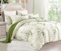 Green Flower Cotton Bedding Set:1 Duvet Cover & 2 Pillow Shams  Full/Queen/King
