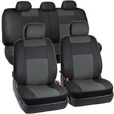 Black & Charcoal Gray Two Tone PU Leather Car Seat Covers 5 Headrests Full Set