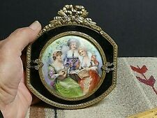 Vintage Hand Painted On Porcelain Music Scene Ormlu Mounts Glass Plaque French