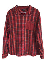 Oakley Cotton Flannel Button Up Shirt Mens Large Red Plaid Long Sleeve