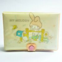 Rare 1976 My Melody Sanrio Jewelry Makeup Pink Puffy Case & Mirror Made In Japan