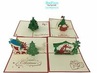 4 Pcs Christmas Holiday 3D Pop Up Greeting Cards, Gift Husband, Wife, Boy, Girl