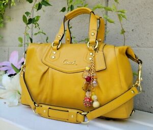 MINT Coach 19247 Ashley Leather satchel Purse handbag sunflower yellow BAG