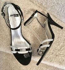Bertie Sandals Size 6 Women's Black & Silver Leather Strappy Party Prom Shoes