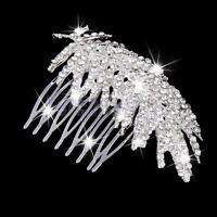 Rhinestone Crystal Leaf Hair Comb Feather Diamante Bridal Wedding Headpieces