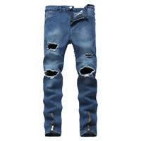 Men's Stretchy Ripped Skinny Biker Jeans Destroyed Tapered Slim Denim Pants Blue