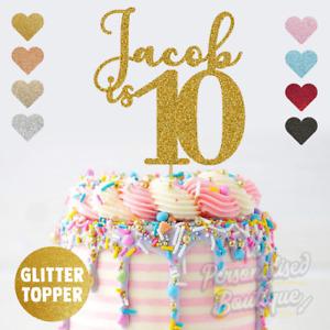 Personalised Custom Glitter Cake Topper, is Ten Tenth 10th Birthday Girls Boys