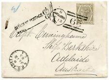 1882 Housse avec 6d Gris PL 18, de Campbeltown à Adelaide, Australie.