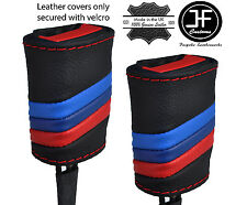 RED STITCH M STRIPES 2X SEAT BELT LEATHER COVERS FITS BMW E36 E46 1991-2005