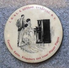 old celluloid pocket mirror advertising player piano