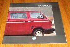 Original 1988 Volkswagen VW Vanagon Sales Brochure GL Camper